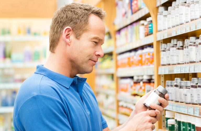 man in drug store