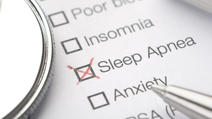 medical chart with sleep apnea checked