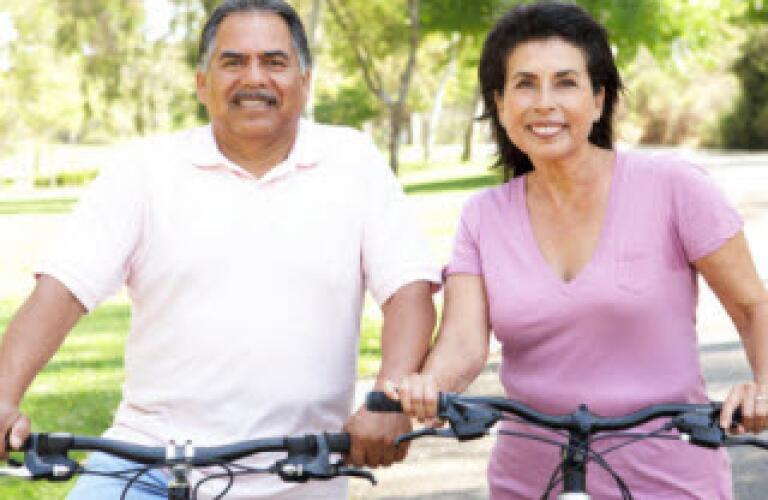 senior couple on bikes, exercise, healthy lifestyle