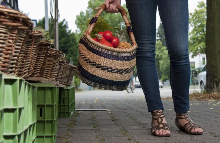 woman with food in basket