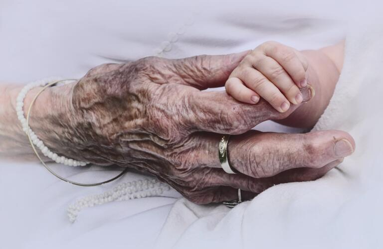 hands of elderly woman and infant