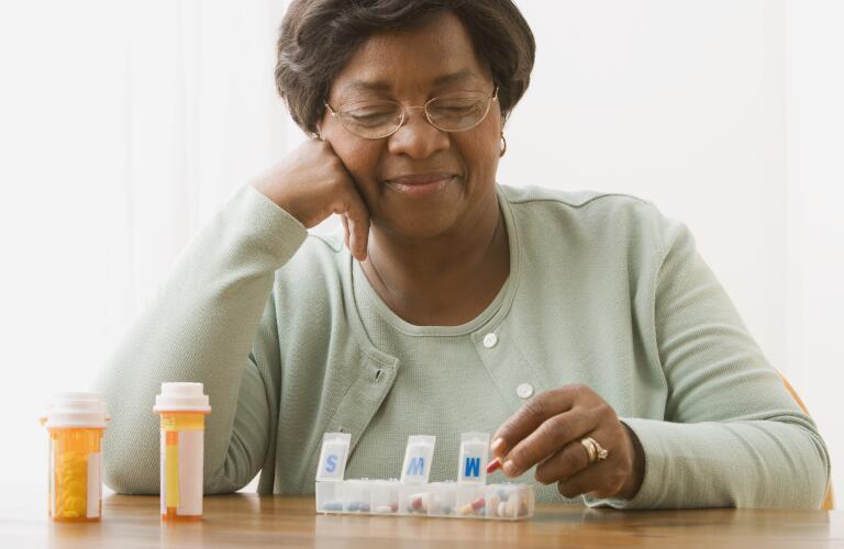 Senior sorting medicine