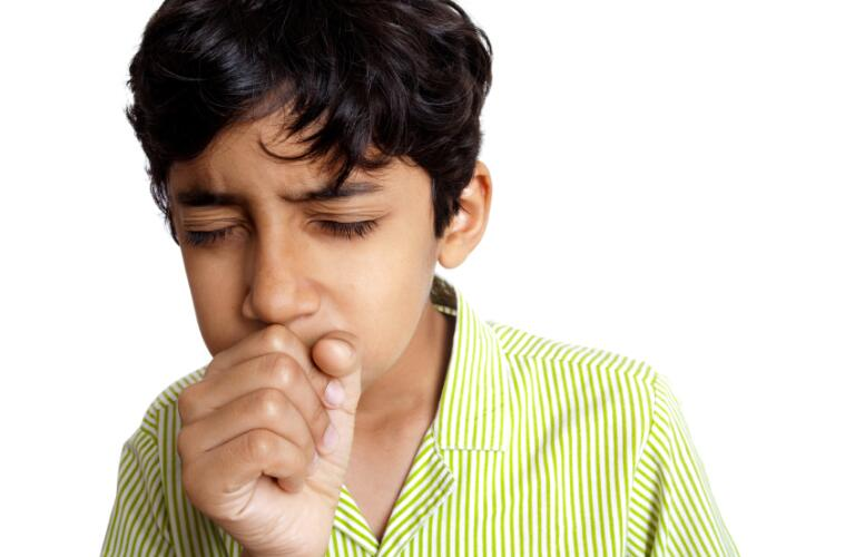 Indian Boy Teenager coughing sneezing