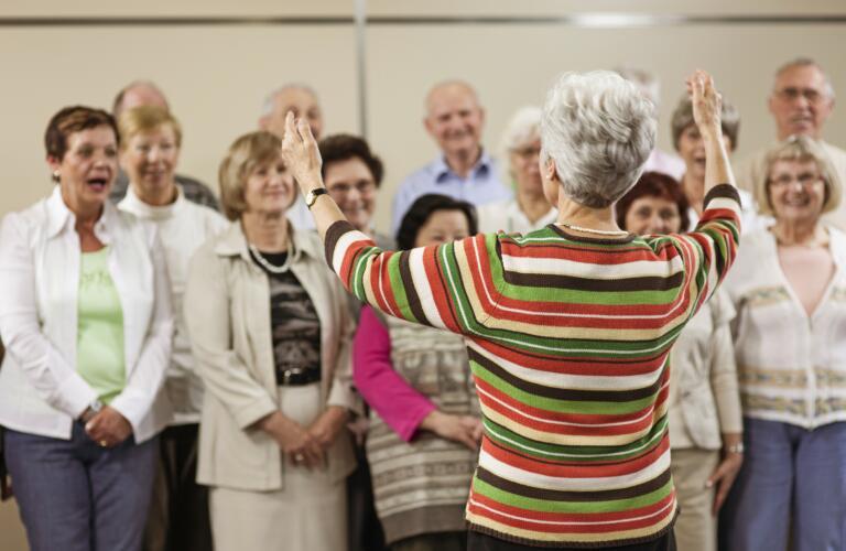 group of seniors singing