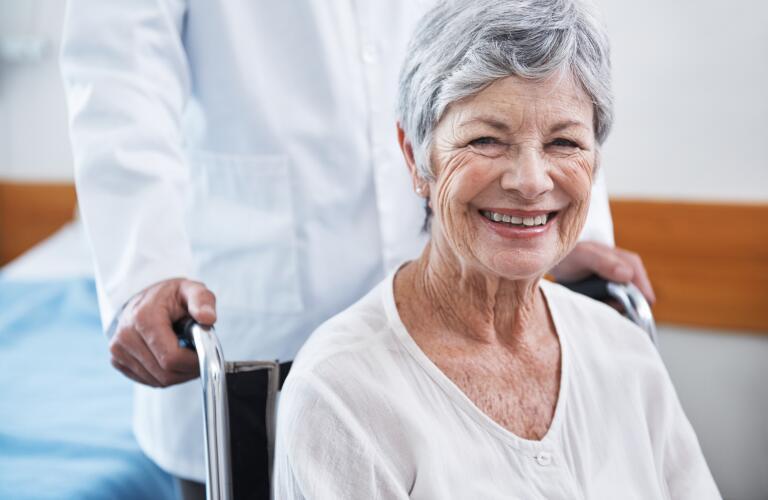Older female patient in wheelchair
