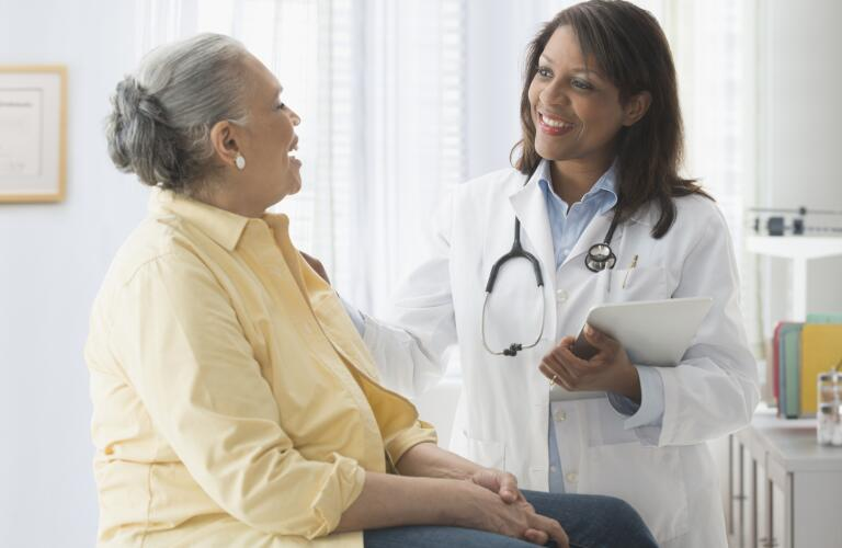 Woman with doctor