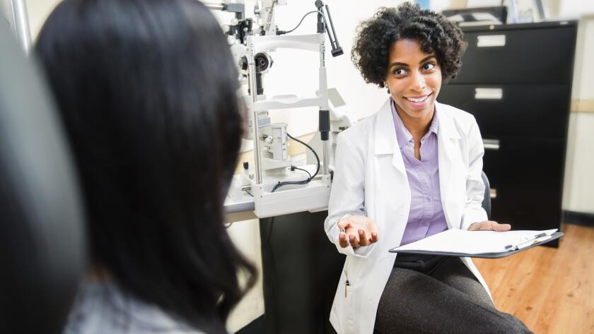 Annual eye exam by optometrist