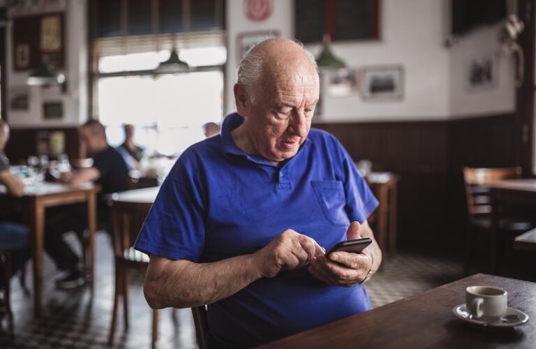 Senior man using a mobile phone