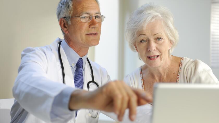 doctor describing results