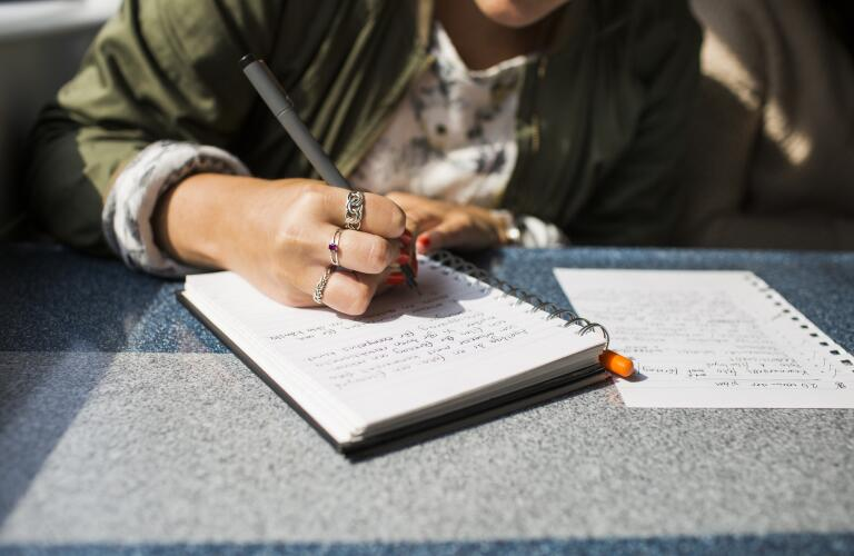 Young woman wearing rings writing in journal on train