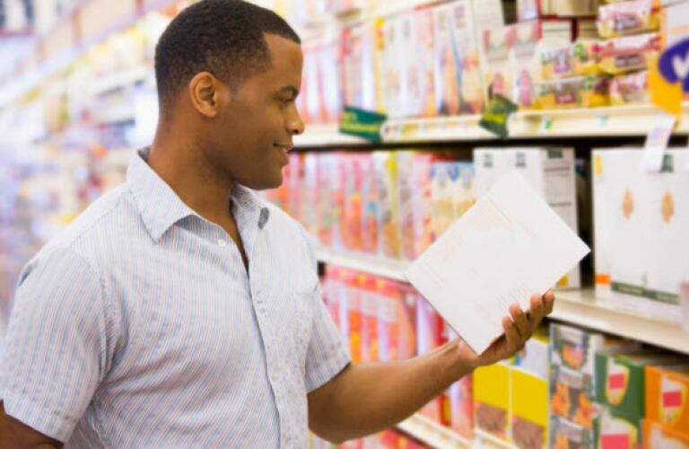 Man checking ingredients