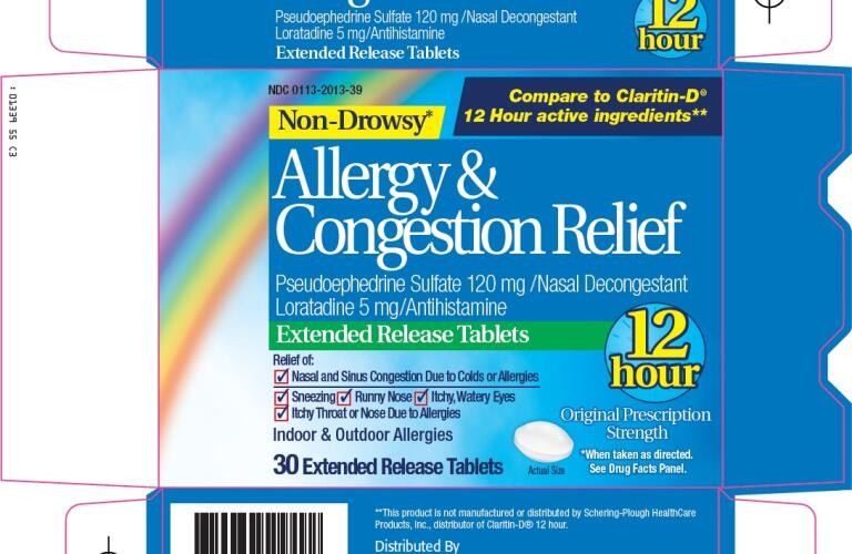 ALLERGY AND CONGESTION RELIEF (loratadine, pseudoephedrine tablet, extended release) Packaging