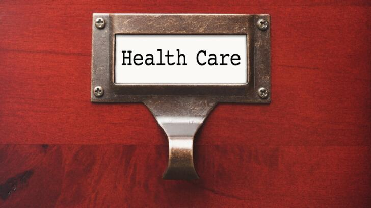 Health Care label on filing cabinet