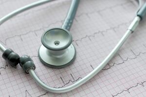 stethoscope on the ECG