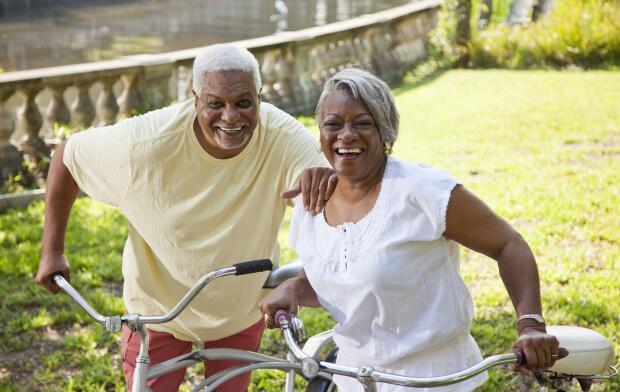 senior couple bike riding