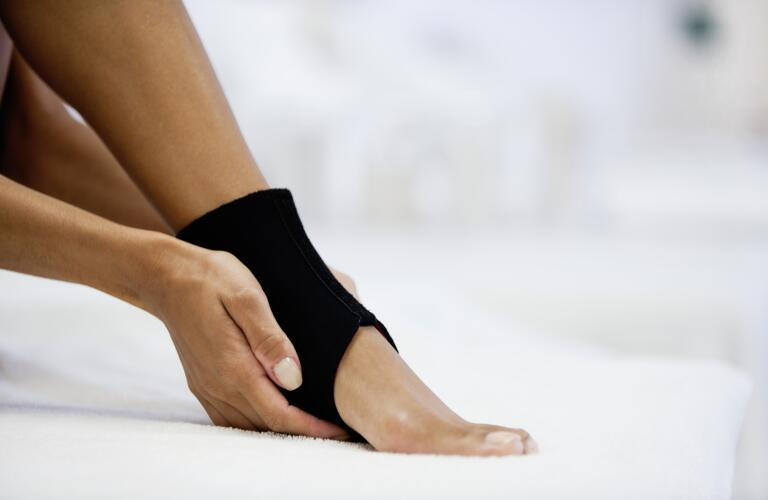 ankle with brace