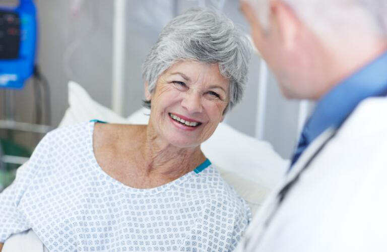 Patient smiling about recovery