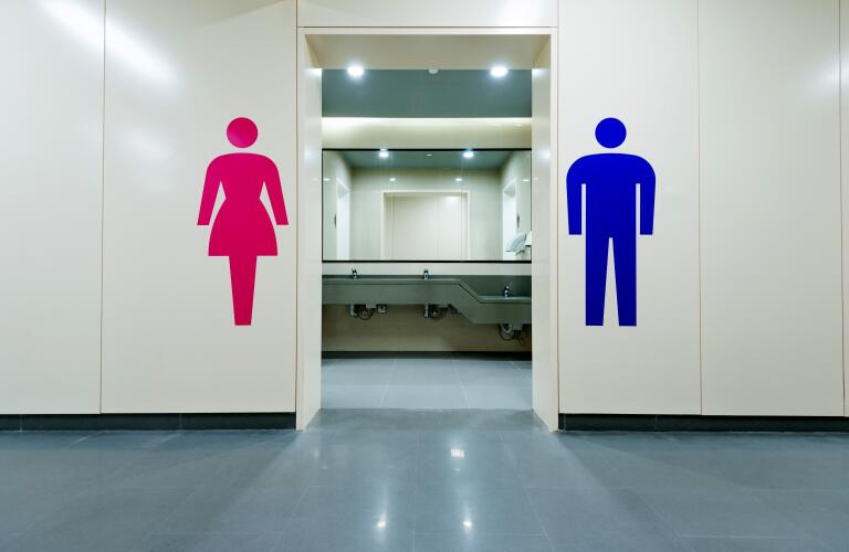 Public toilets with men and women signs