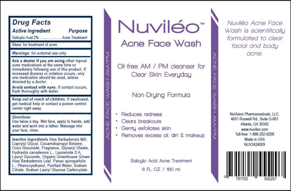 NUVILEO ACNE FACE WASH (salicylic acid solution, gel forming