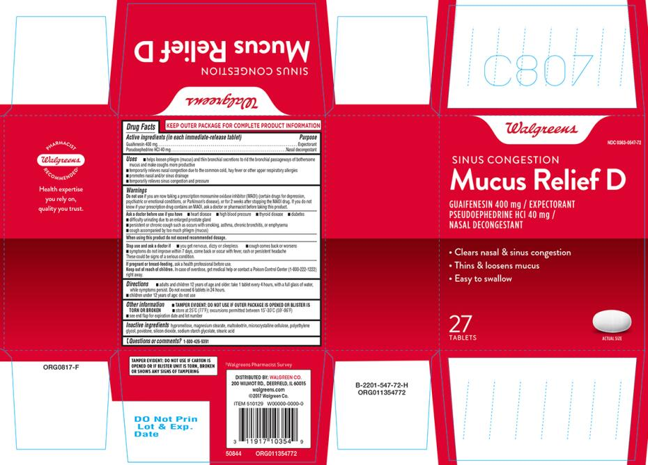 MUCUS RELIEF D (guaifenesin, pseudoephedrine hcl tablet, film coated