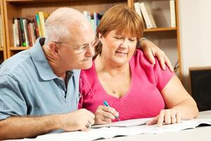 Mature couple in library