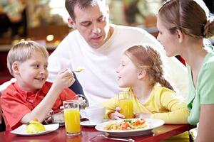 family at restaurant table