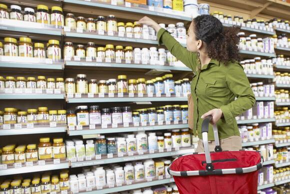 Woman shopping for vitamins