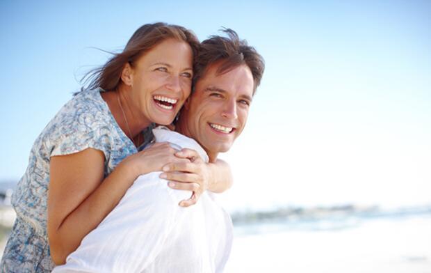happy couple, middle age couple, happy, beach,
