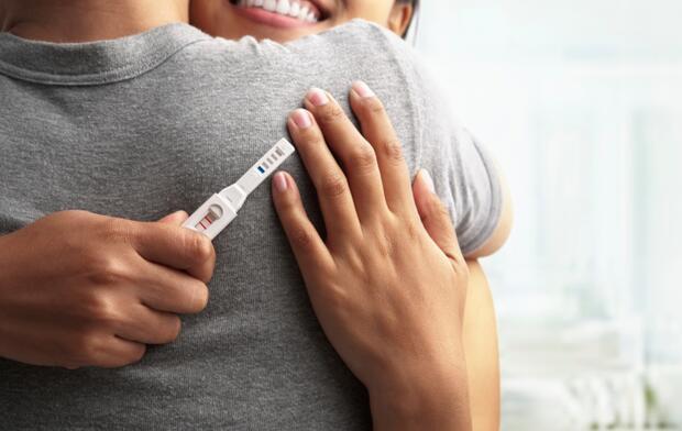 Joyful with positive pregnancy